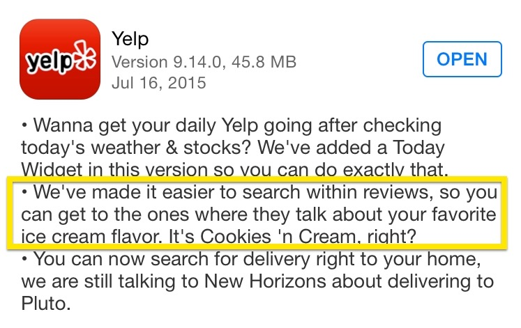 Yelp release notes